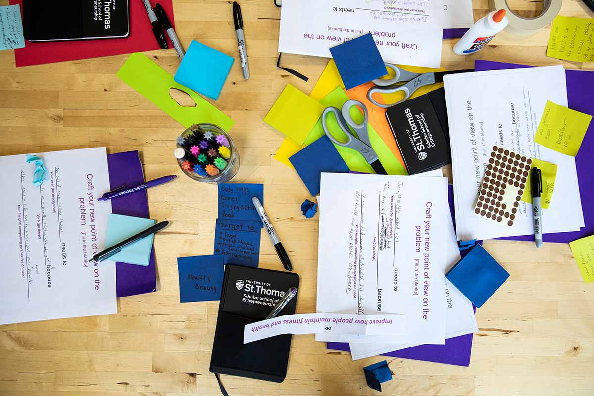 "Materials lay out while Freshmen brainstorm ideas during an Opus College of Business ""freshman innovation immersion"" session August 28, 2018."