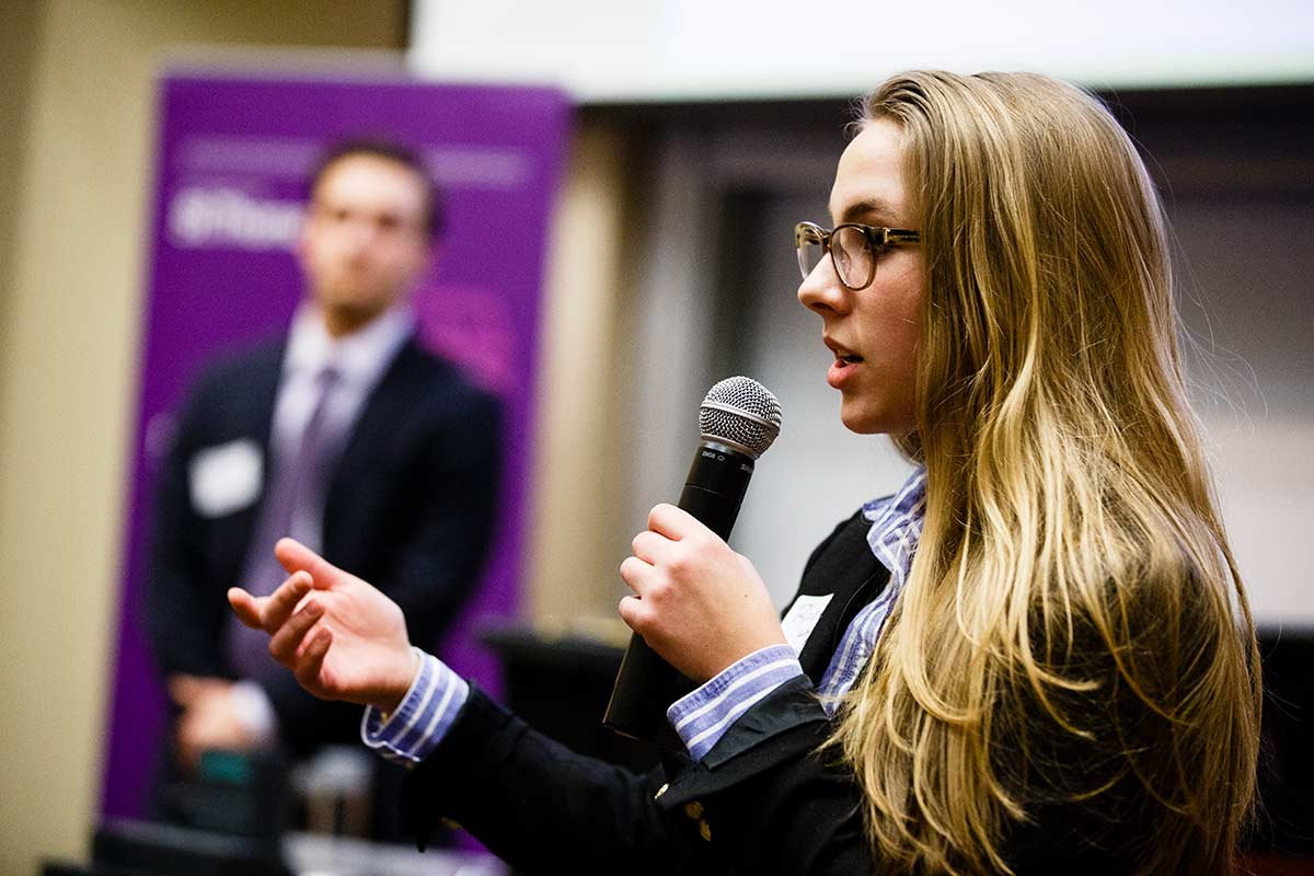 Student Rose Whitney-Eliason, of Earth Worm, speaks during the Opus College of Business business plan competition February 10, 2017 in the Schulze Hall auditorium.