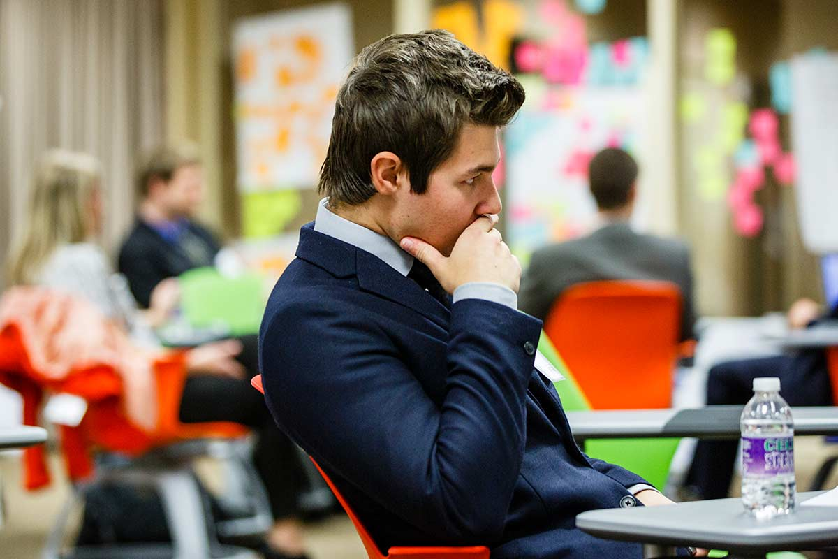 Student Matt Michalski does some thinking after his presentation during the Fowler Business Concept Challenge November 20, 2015 in Schulze Hall.