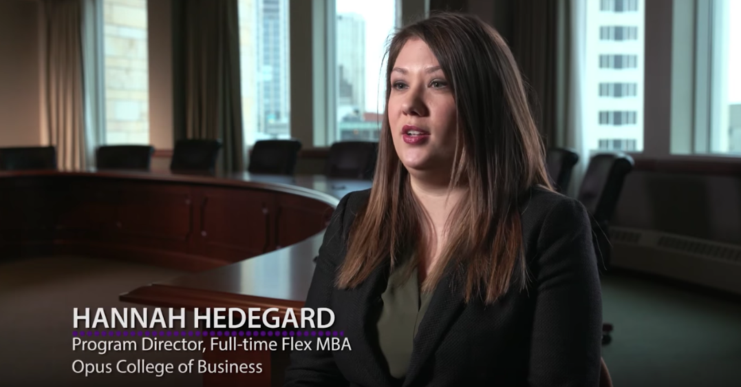 "Hannah Hedegard talking and caption that reads, ""Program Director, Full-Time Flex MBA Opus College of Business"