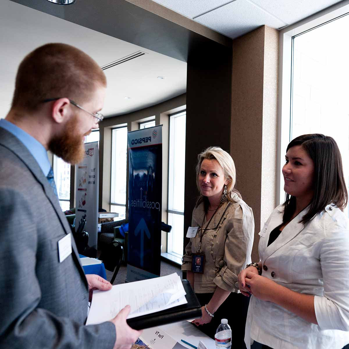 MBA students participating in the Opus College of Business MBA Career Fair in Schulze Hall in Minneapolis on Friday, April 8, 2011.