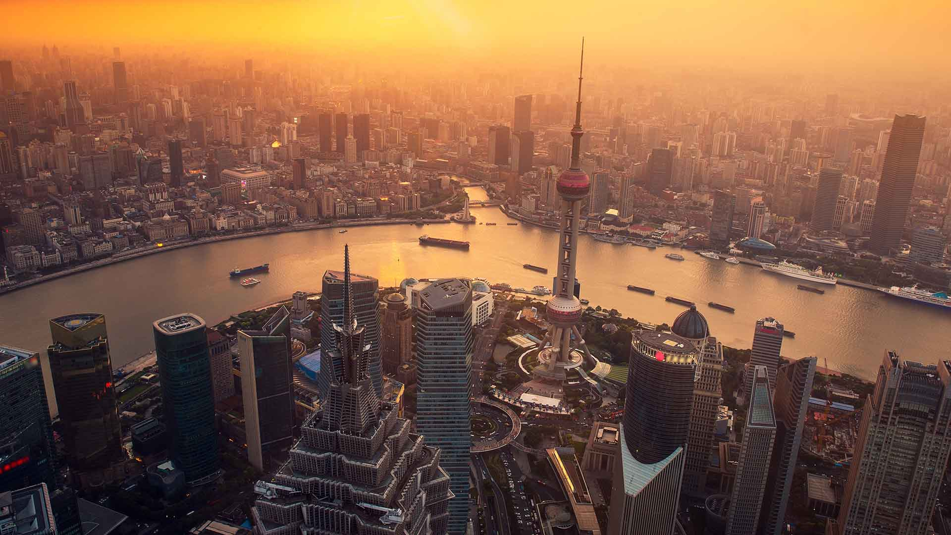 Aerial view of a skyline in Shanghai.