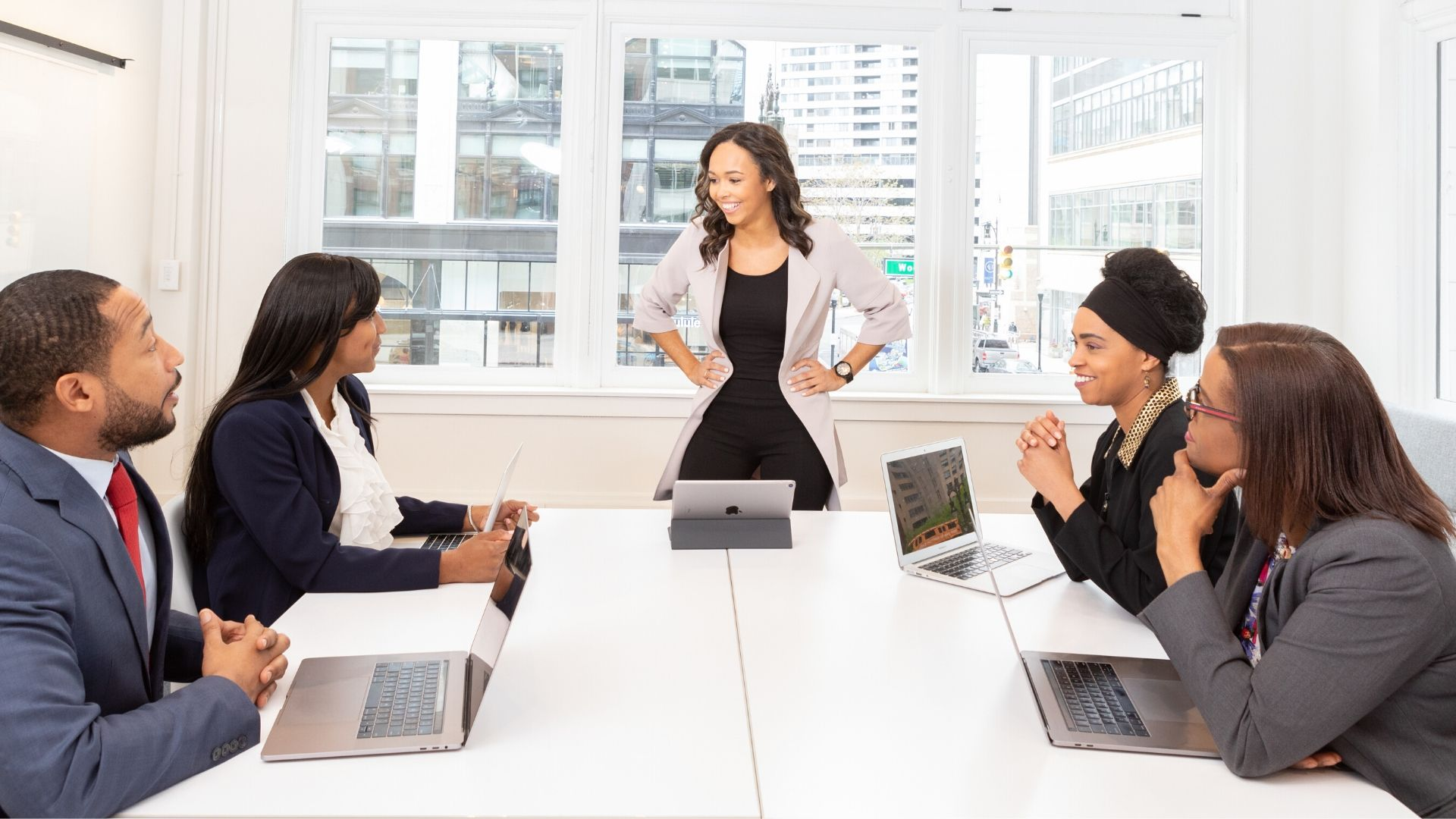 Woman leading a business meeting
