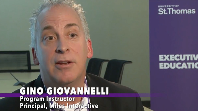 Gino Giovannelli, program instructor at Opus College of Business and principal at Miles Interactive, details the different pieces that make up the Certified Digital Marketing Professional program.