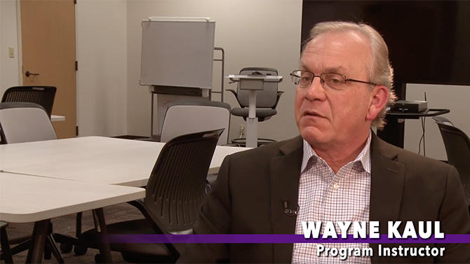 Wayne Kaul, program instructor, explains the three major subjects that this program covers: company strategy, tools and techniques from the Project Management Book of Knowledge (PMBOK) and leadership and negotiation soft skills.