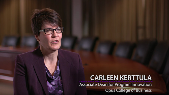 Carleen Kerttula, associate dean for program innovation, talks about what the program Prof + Prof is.