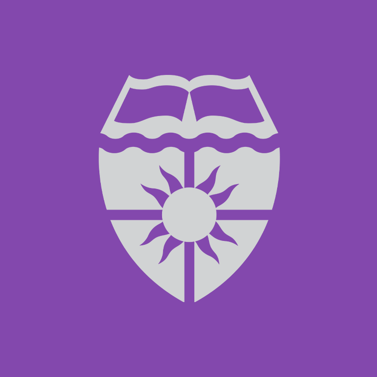 University of St. Thomas graphic with purple background and gray shield.
