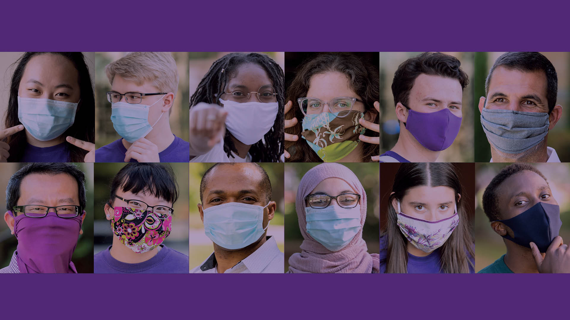 Collage of St. Thomas students wearing masks