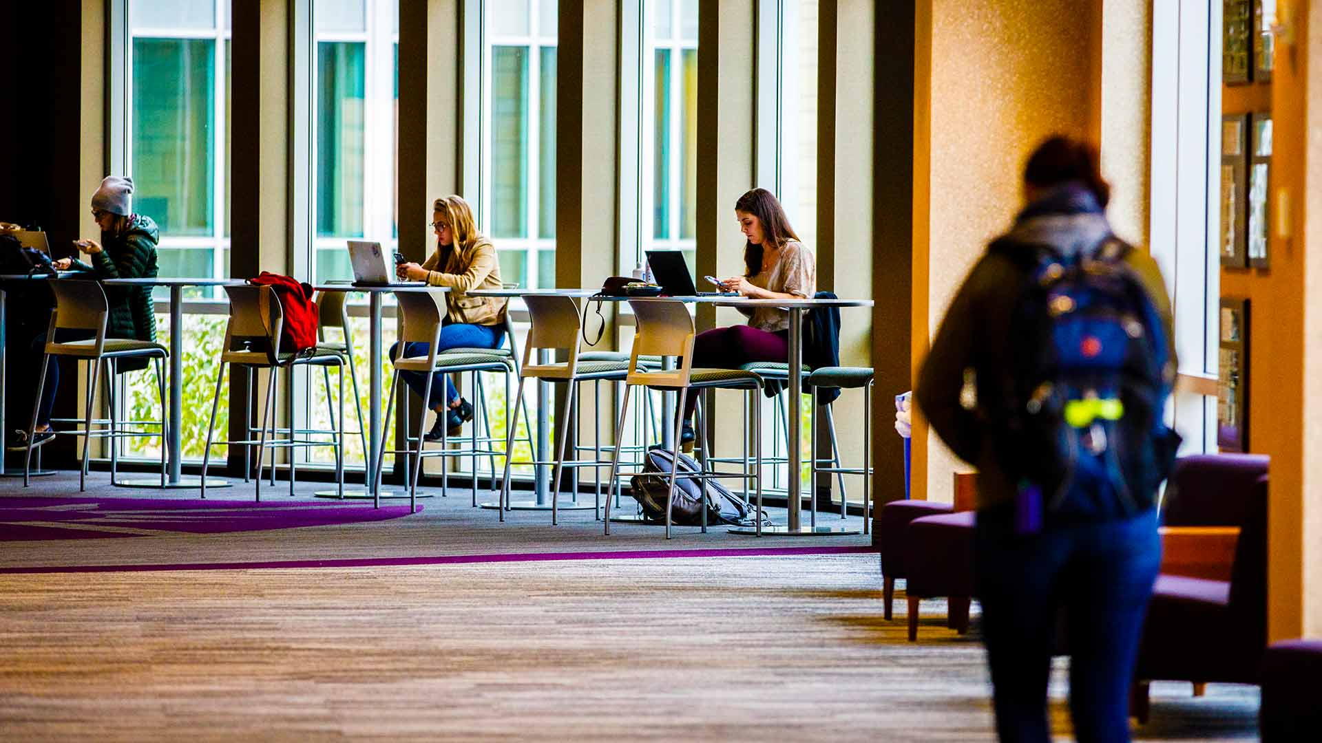 Students studying between classes in the skyway.