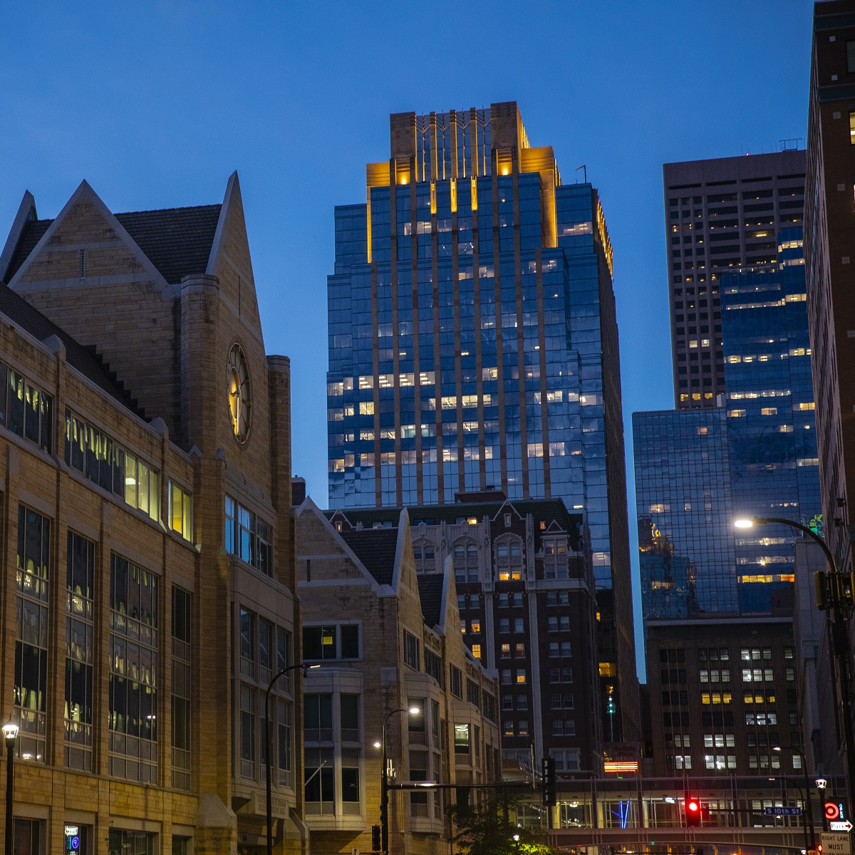 A nighttime photo of the exterior of the St. Thomas campus located in downtown Minneapolis.