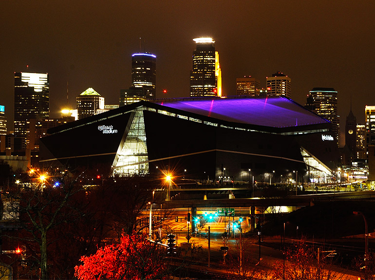 US Bank Stadium in Minneapolis at night.