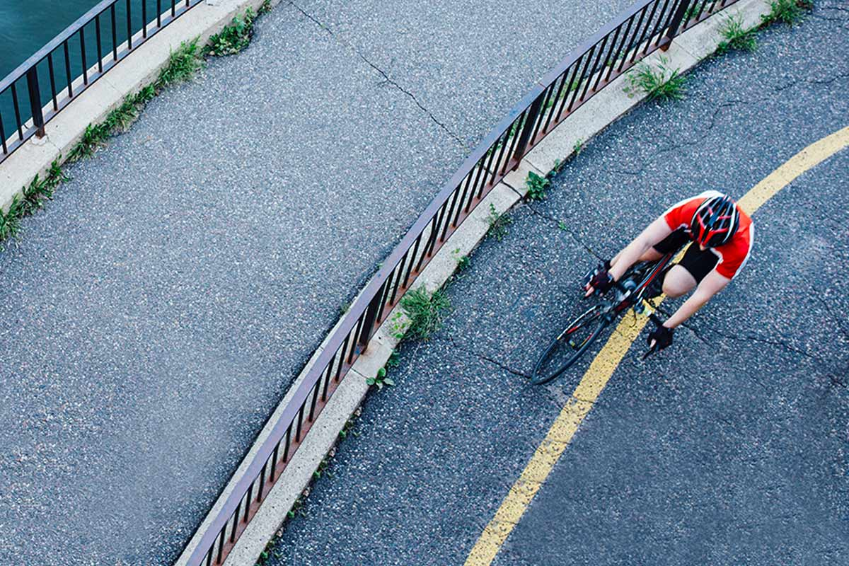 High angle view of person riding bicycle.